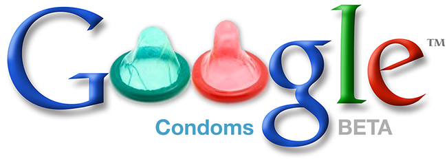 "Faux Google logo with condoms for the ""o"" in ""Google"""