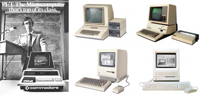 Clockwise l-r: Commodore PET (1977); Apple IIe (1983); Macintosh SE/30 (1989); original Macintosh (1984)